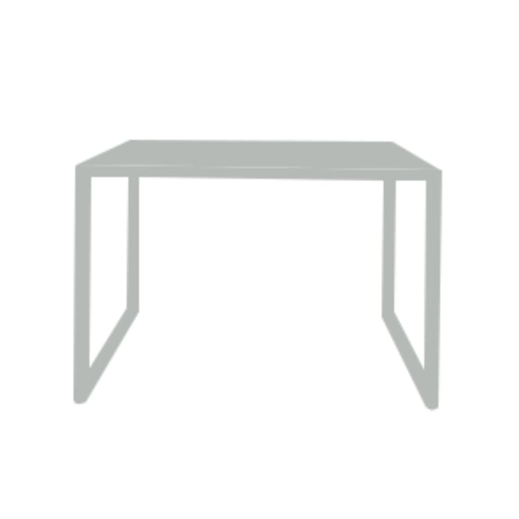 Table basse de jardin carrée en acier gris H40cm