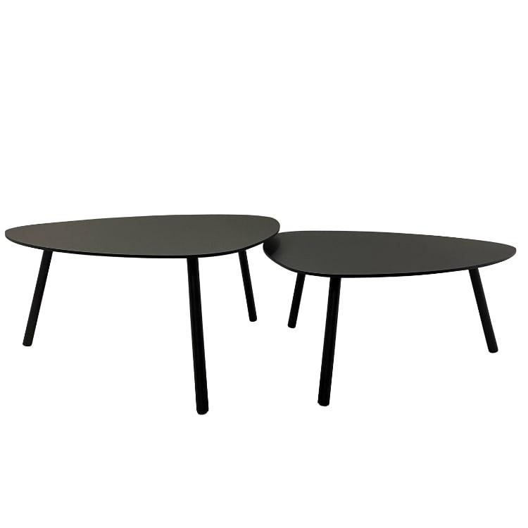 Lot de 2 tables basses de jardin aluminium acier noir