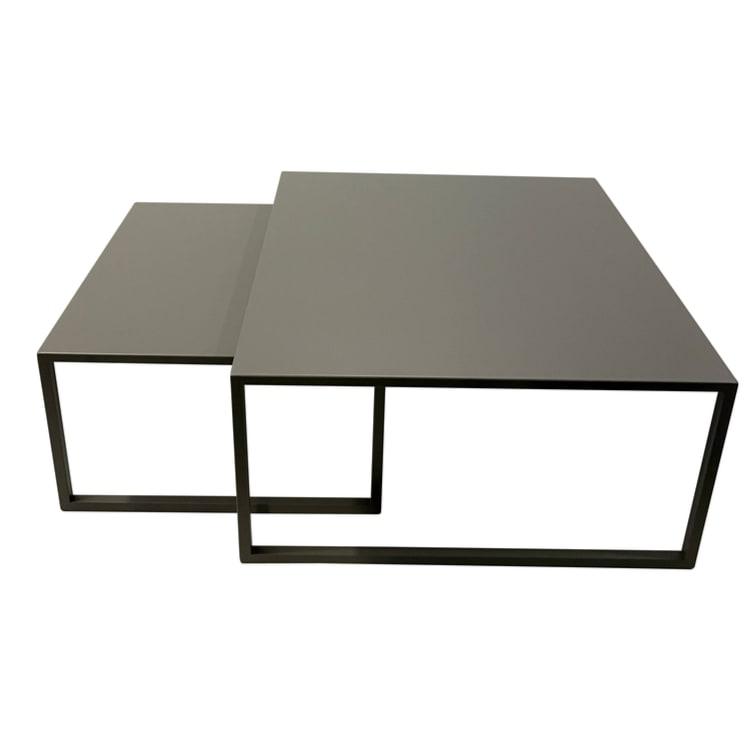 Lot de 2 tables basses de jardin carrées  en acier gris