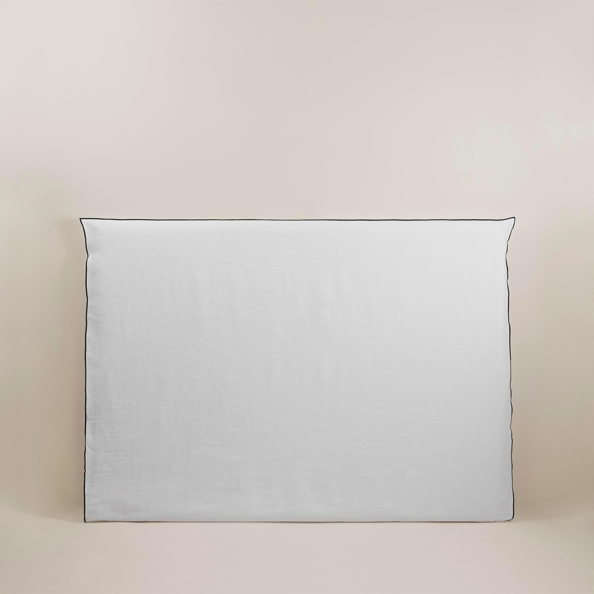 Housse de tête de lit 170x134 cm Blanc et bourdon noir