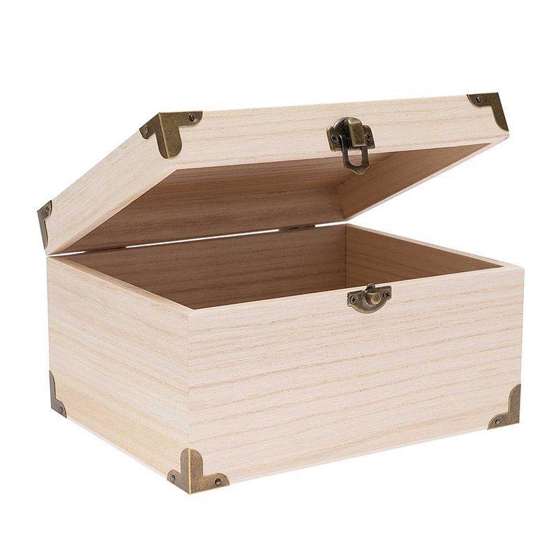 Coffret trésor bois avec armatures 20x16x11cm