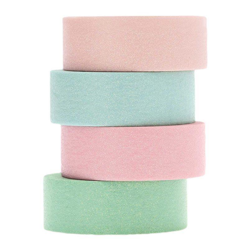 Masking tape pailleté pastel - Lot de 4