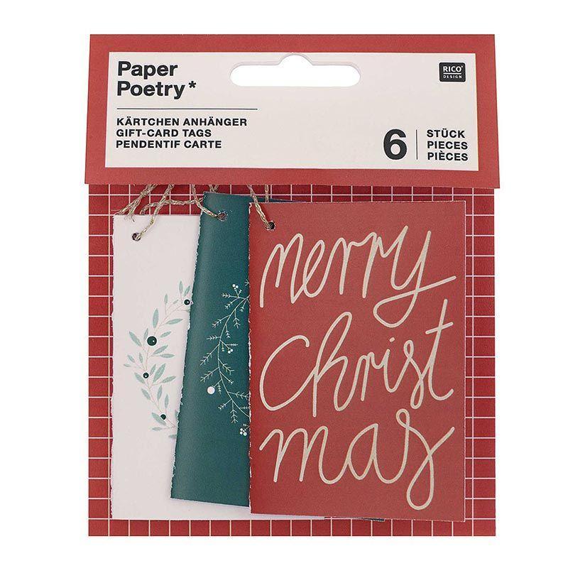 6 cartes à suspendre Merry Christmas