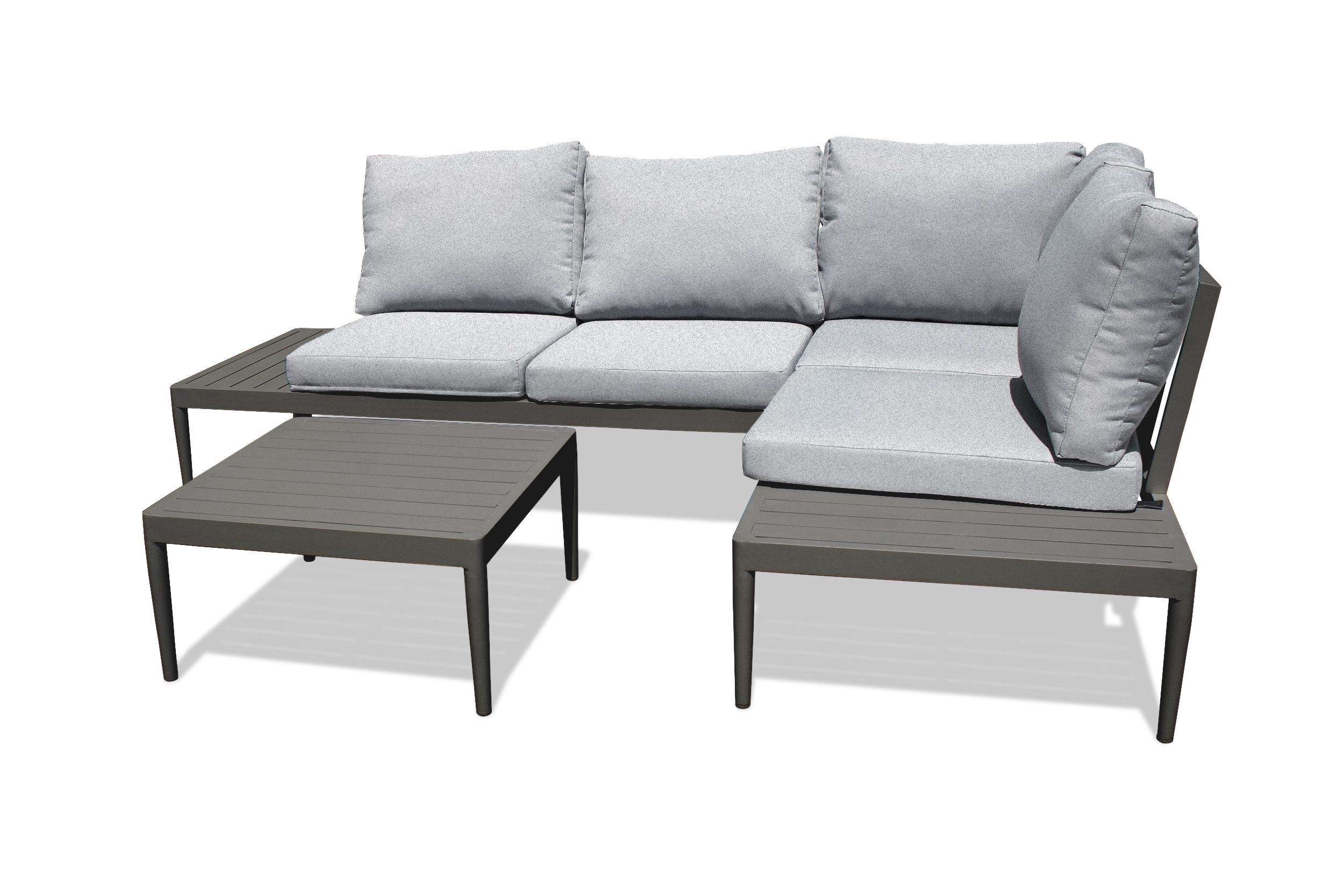 Salon de jardin 4 places en aluminium gris anthracite