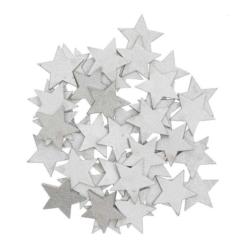 Confettis étoiles en bois argentés
