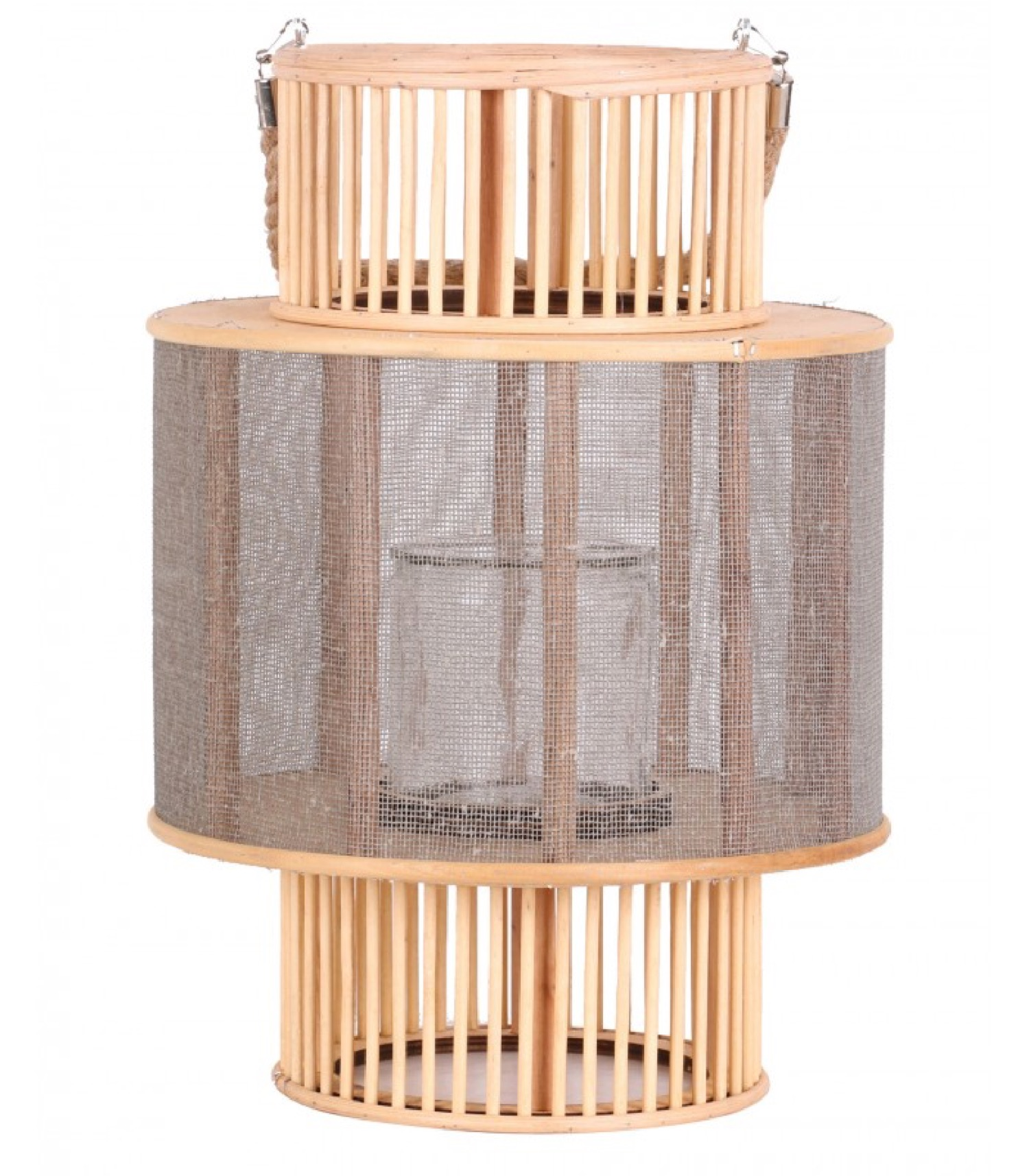 Lanterne ronde en bois et bougeoir en verre H38cm