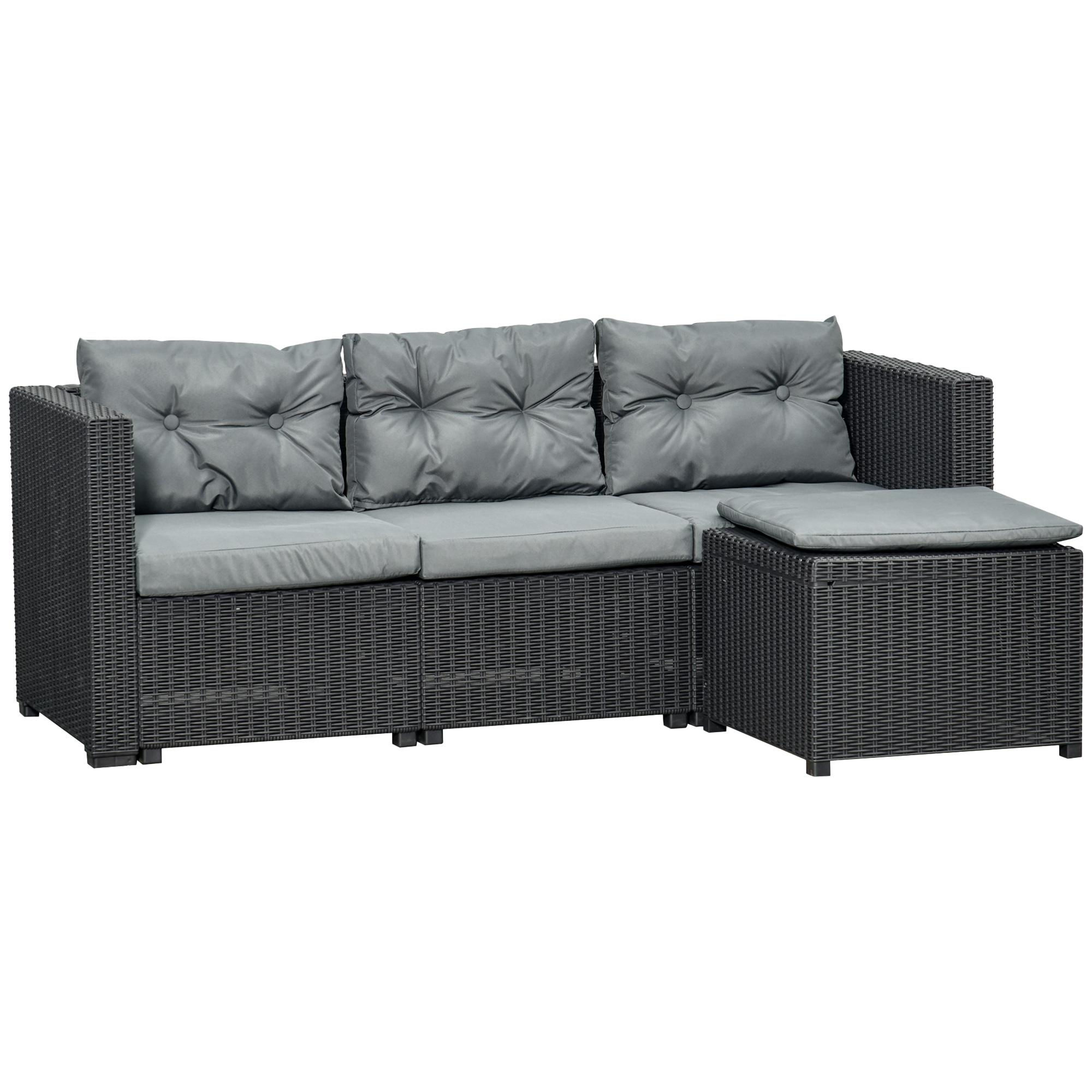 Canapé 3 places avec pouf et 7 coussins en résine tressé gris