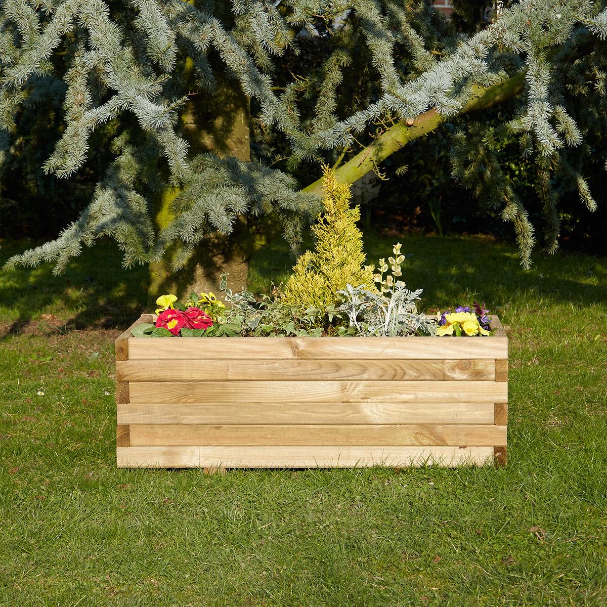Jardinière rectangulaire 90cm en pin traité