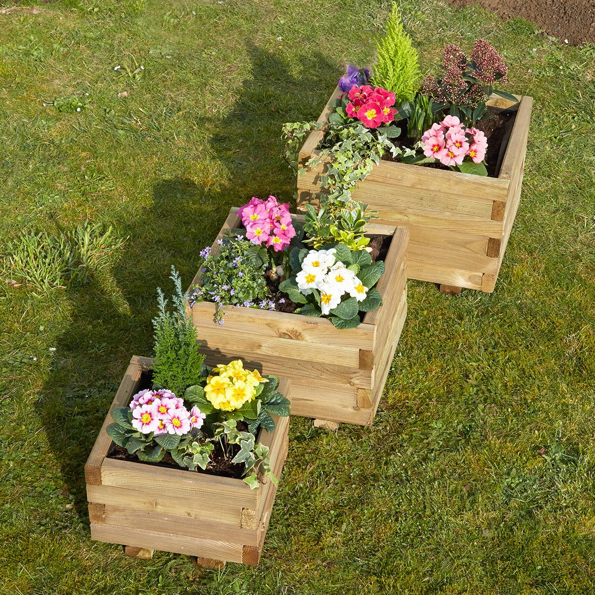 Jardinière carrée 40cm en pin traité