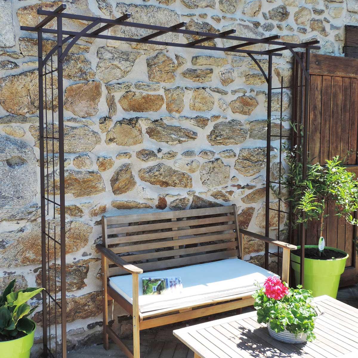Arche de jardin grand modèle en fer avec 4 supports à enfoncer en fer
