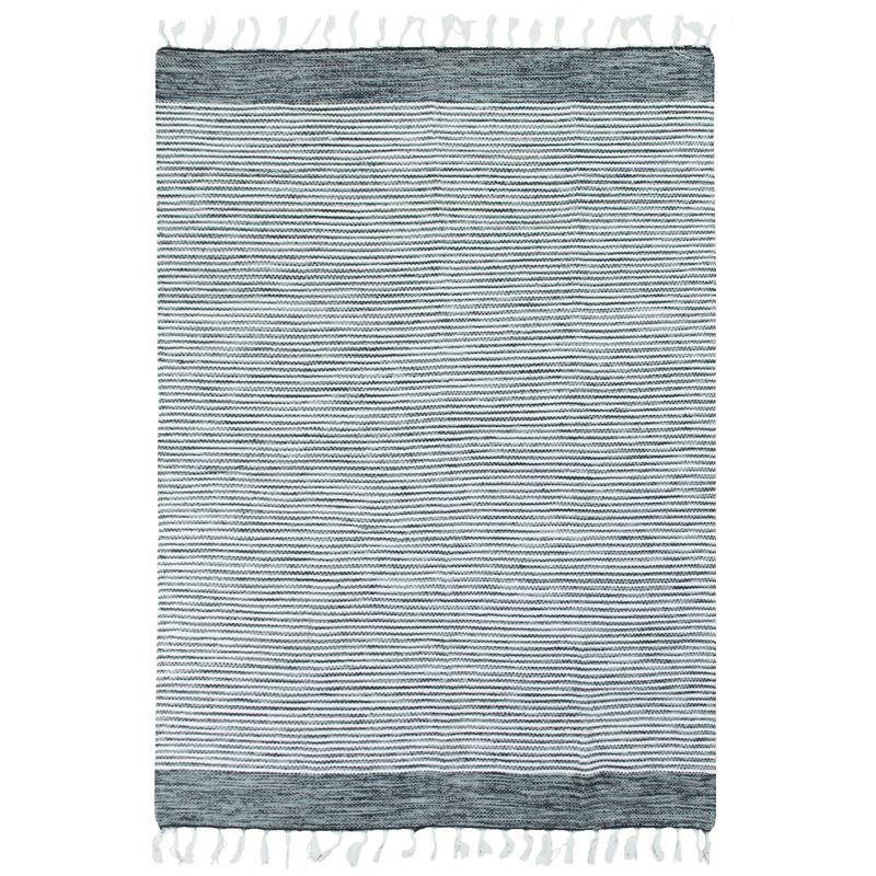 Tapis 100% coton bandes gris-blanc 120x170