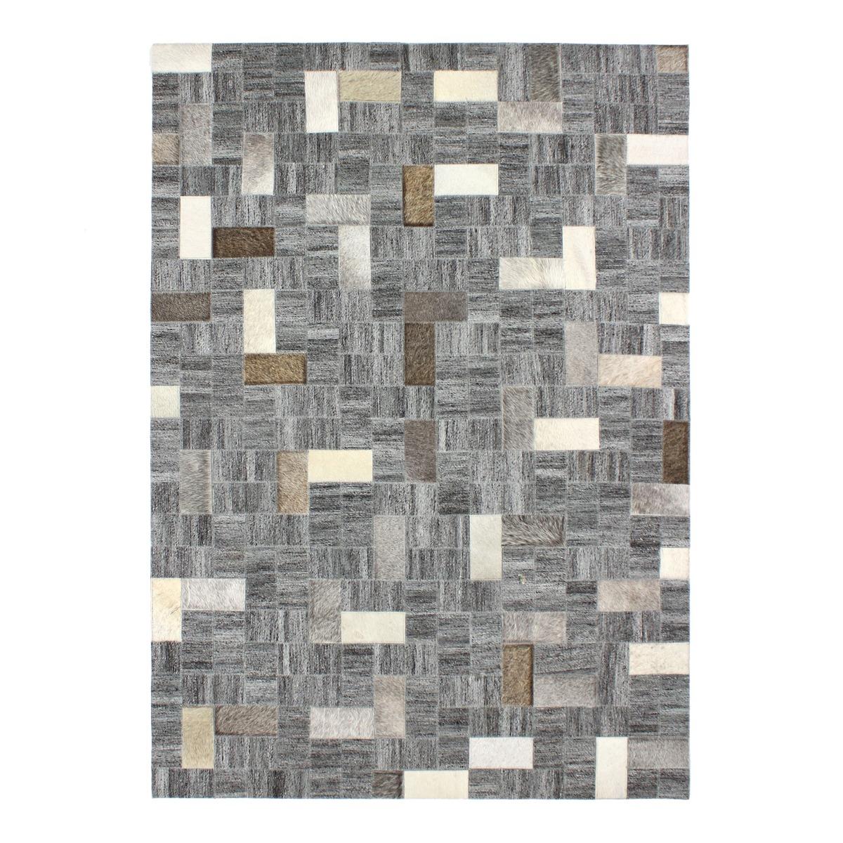 Tapis en cuir motif mosaïque gris 120x170