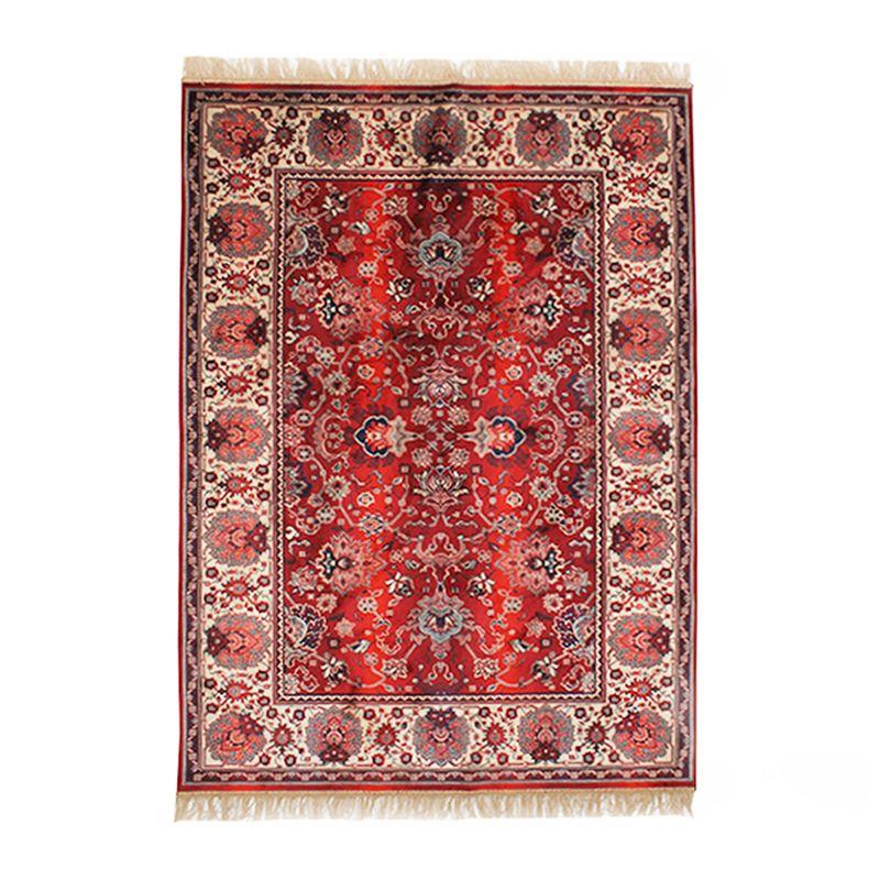 Tapis à franges en viscose motifs vintage rouge 137x200