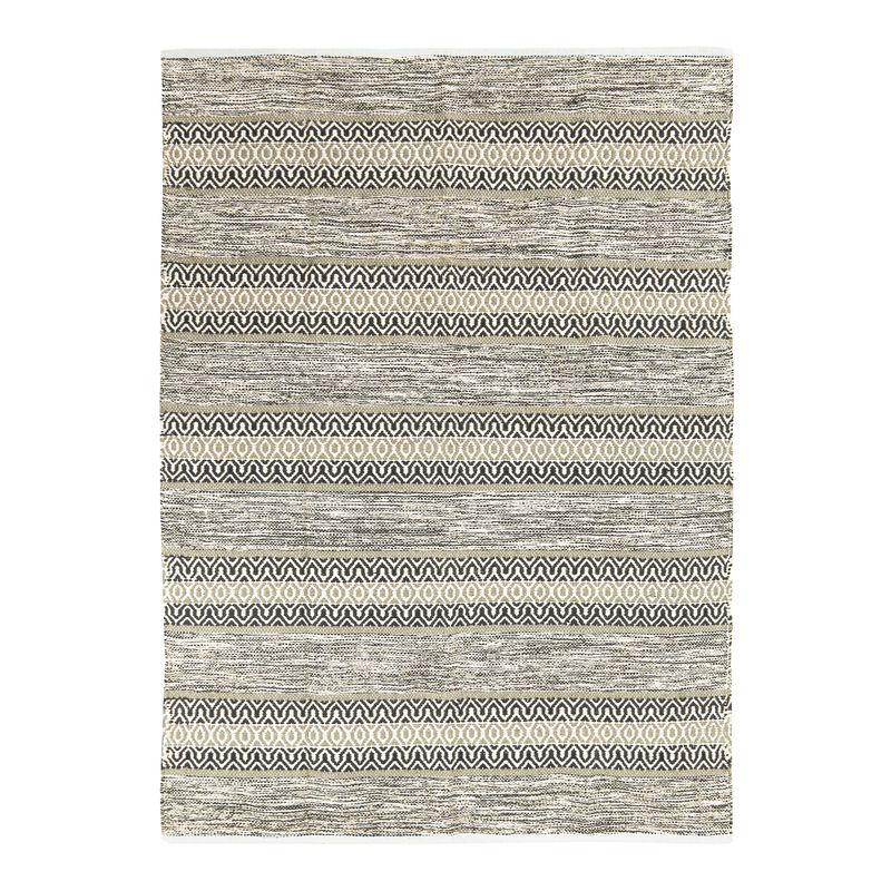 Tapis 100% coton bande ethno blanc-sable 120x170