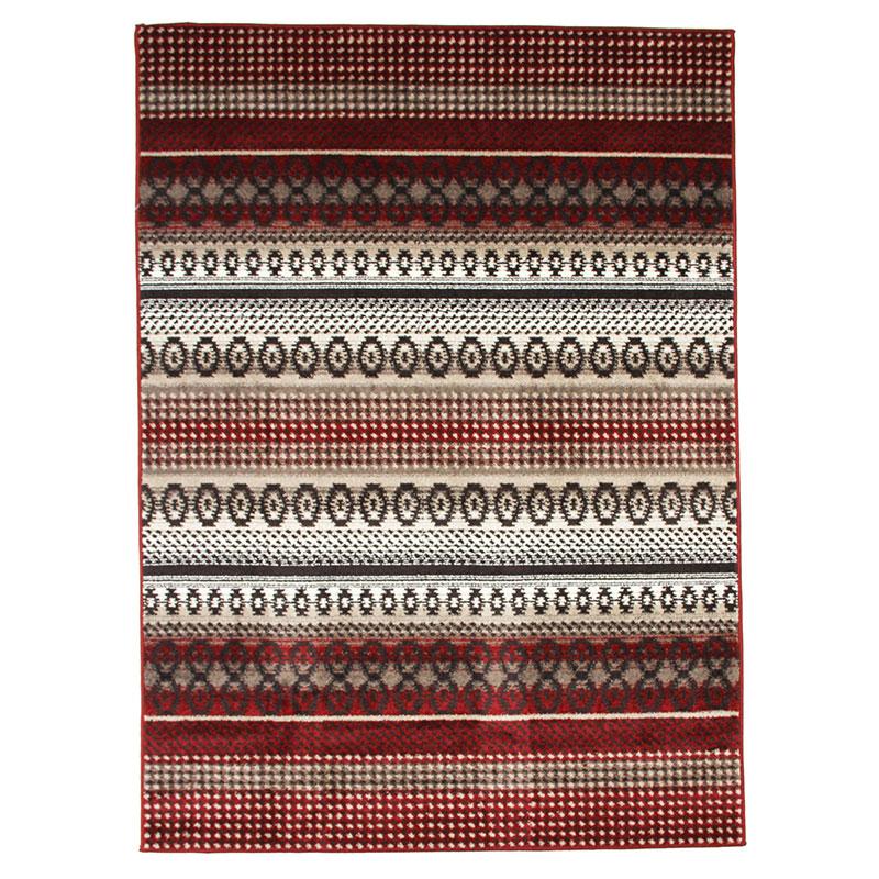 Tapis toucher laineux motifs lignes scandinaves rouge 133x190
