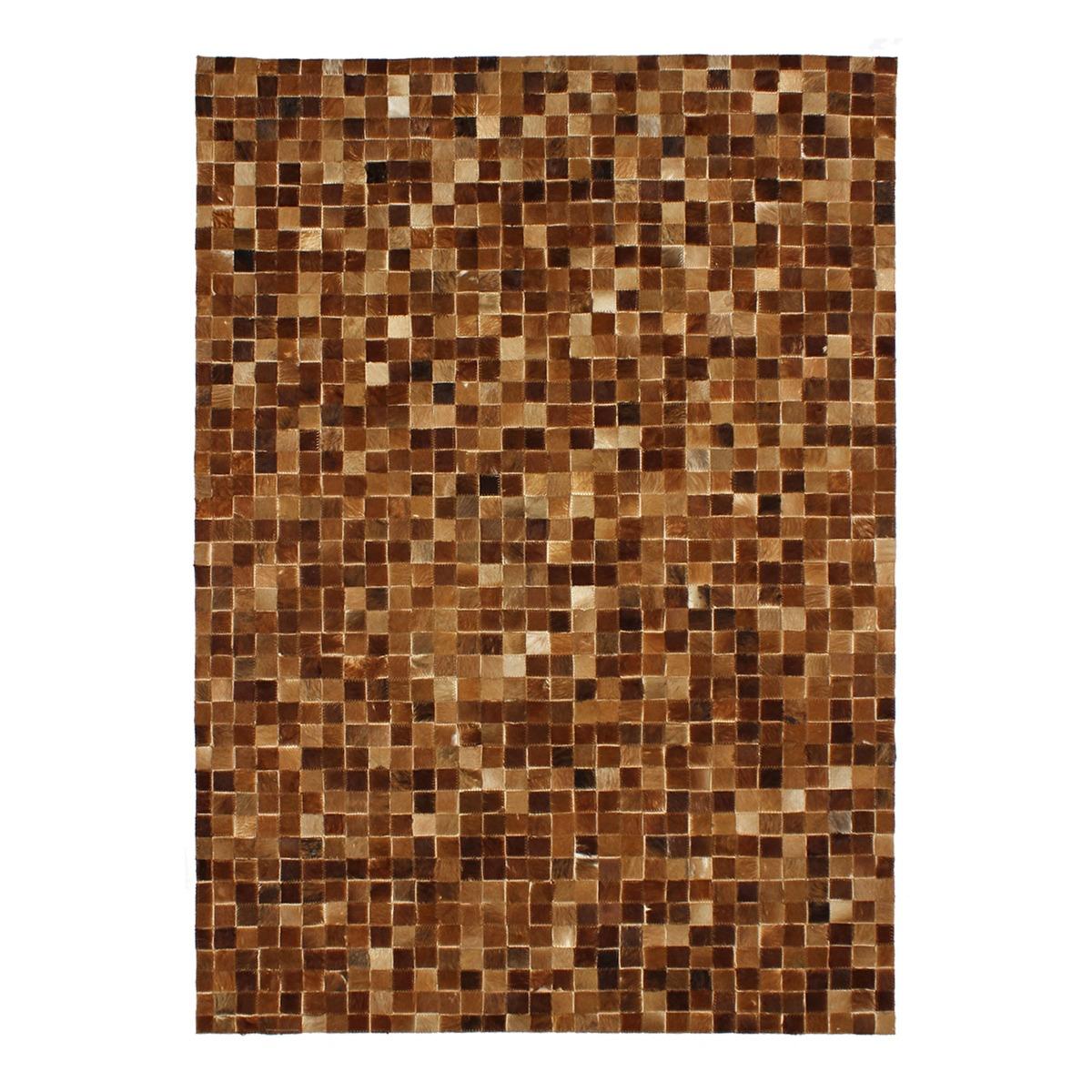 Tapis en cuir motif mosaïque marron clair 160x230