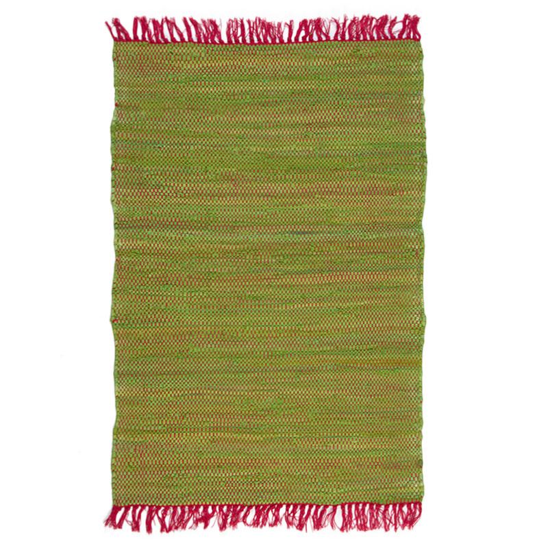 Tapis 100% coton bi-colore rose et vert 60x90