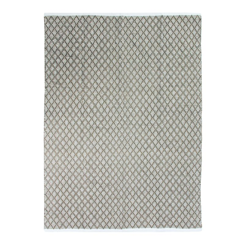 Tapis 100% coton blanc/écru-sable 190x290