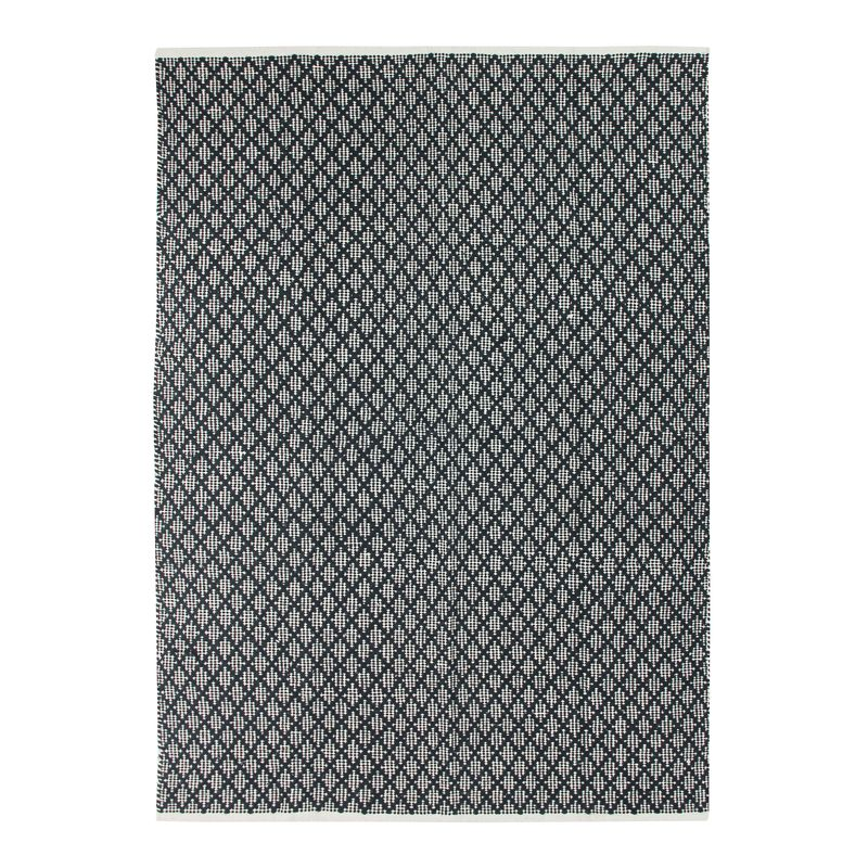 Tapis 100% coton blanc/écru-noir 190x290