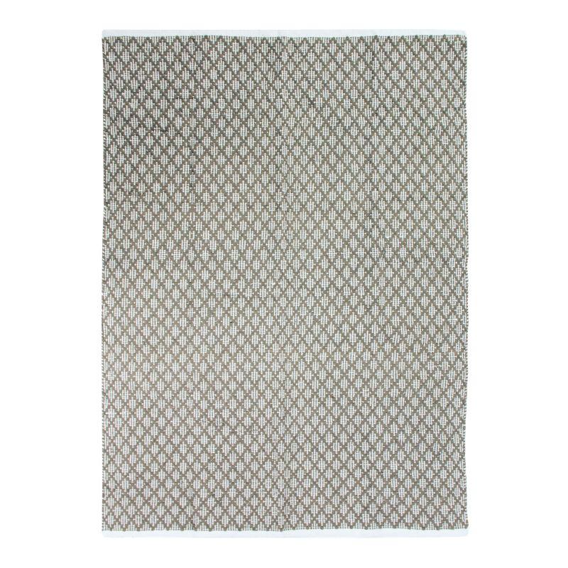 Tapis 100% coton blanc/écru-sable 120x170