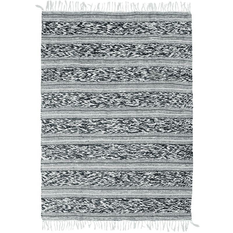 Tapis 100% coton bande relief blanc-noir 190x290