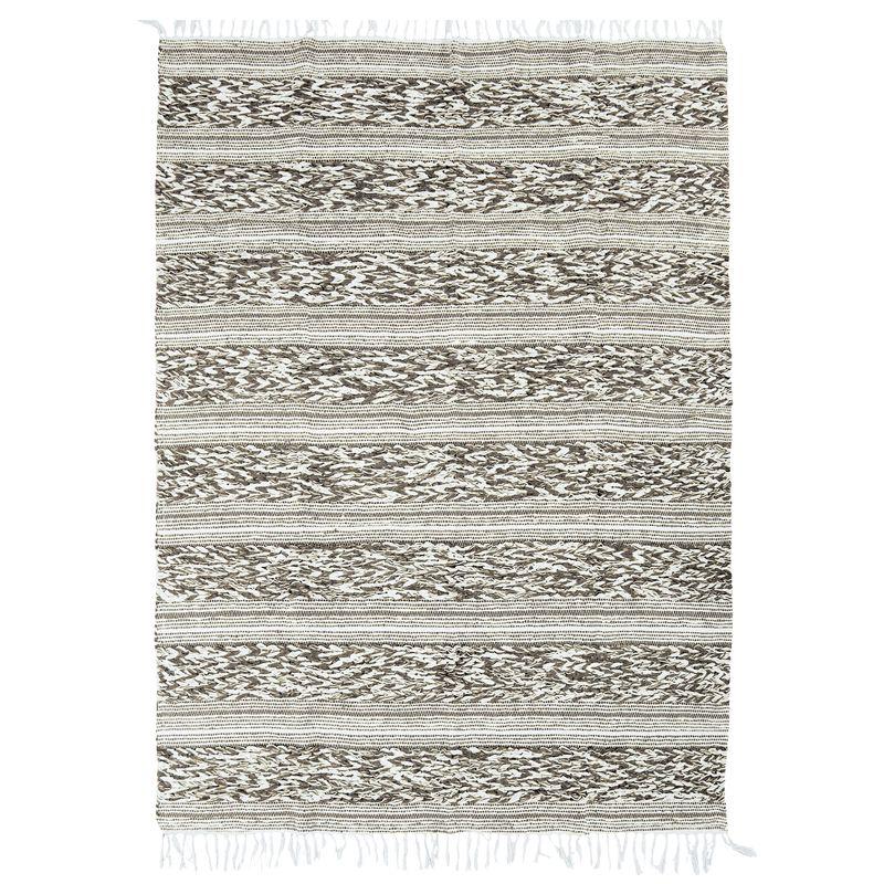 Tapis 100% coton bande blanc-sable 120x170