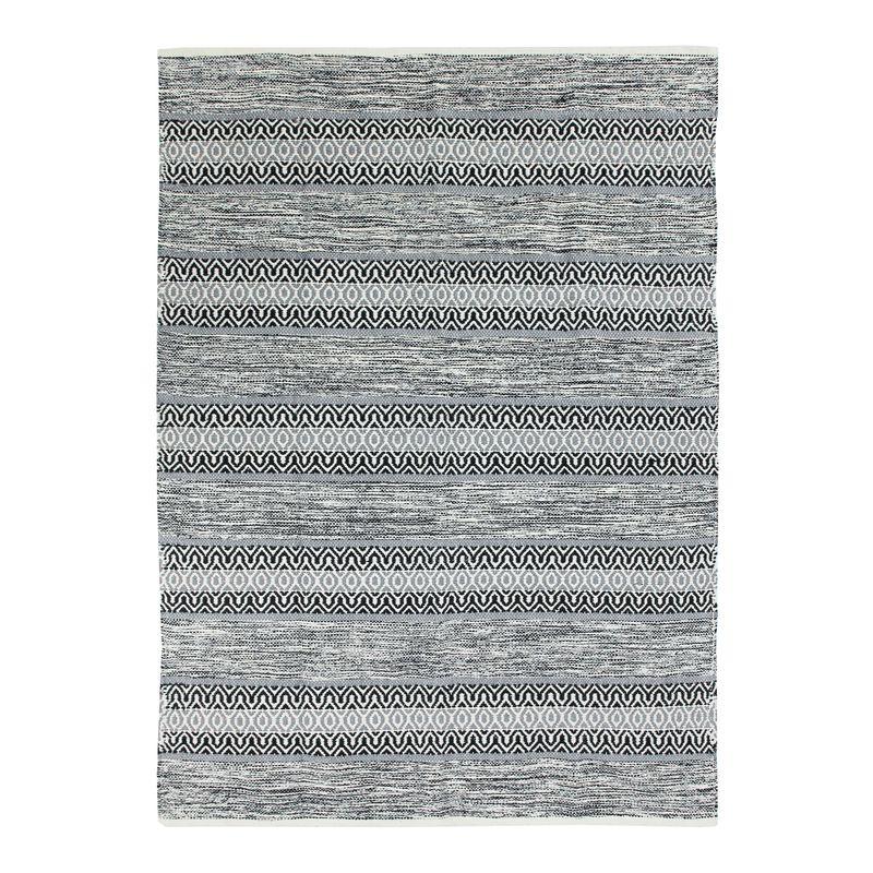 Tapis 100% coton bande ethno blanc-noir 120x170
