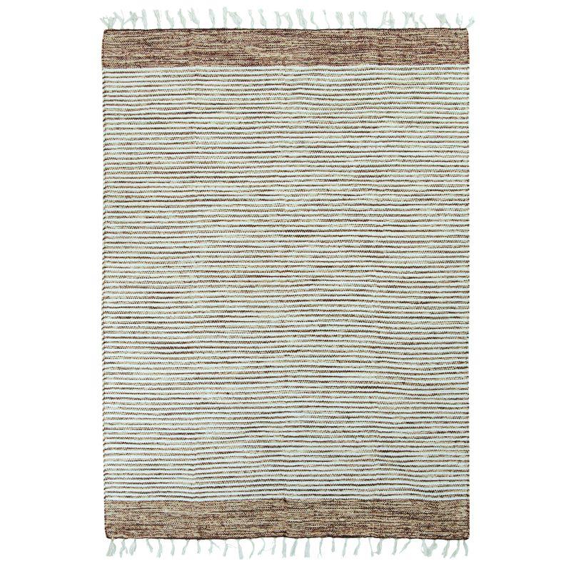 Tapis 100% coton bandes sable-blanc 120x170