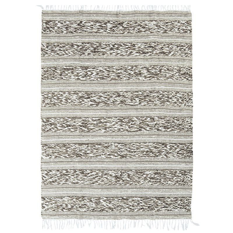 Tapis 100% coton bande blanc-sable 160x230
