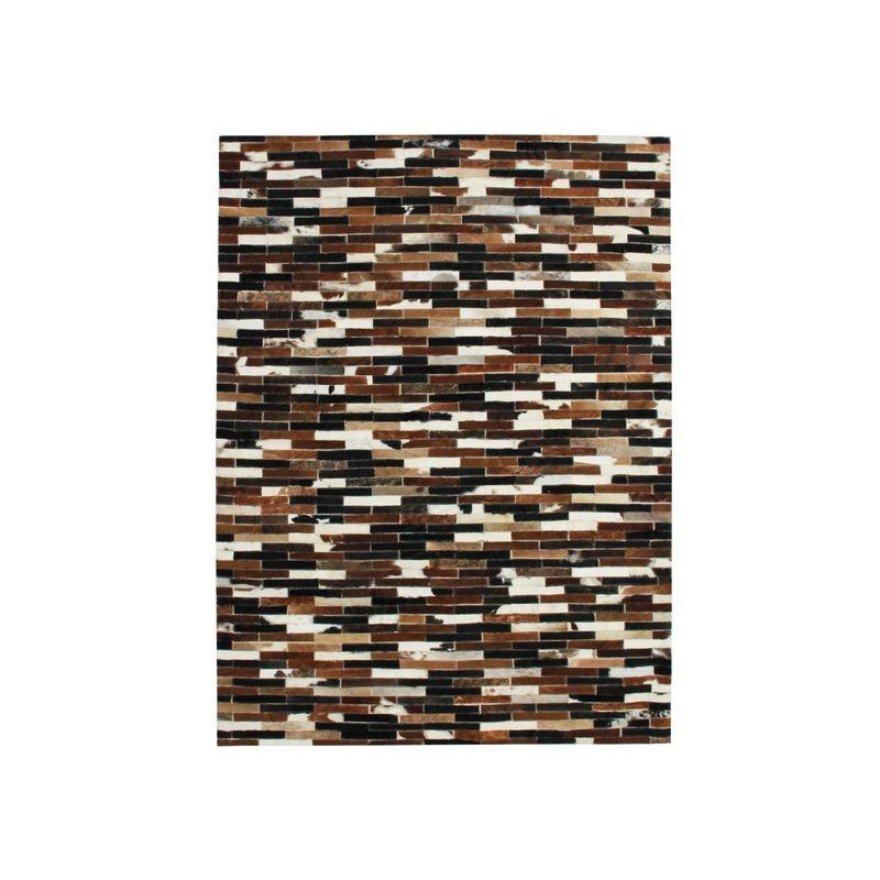 Tapis en cuir lignes marron multi 190x290