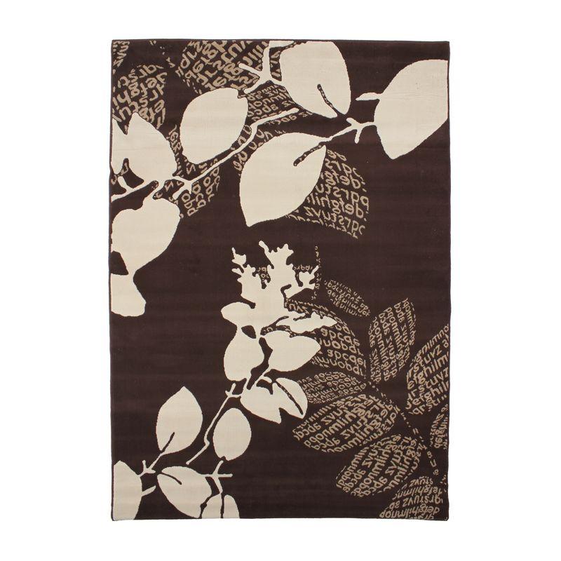 Tapis motifs feuilles et textes chocolat et crème 160x230