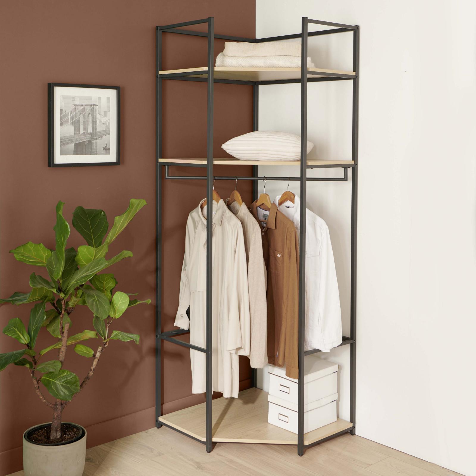 Dressing d'angle ouvert modulable et combinable effet bois clair