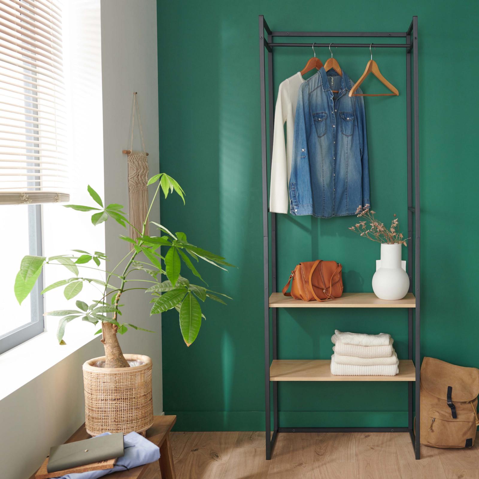 Dressing ouvert modulable et combinable effet bois clair