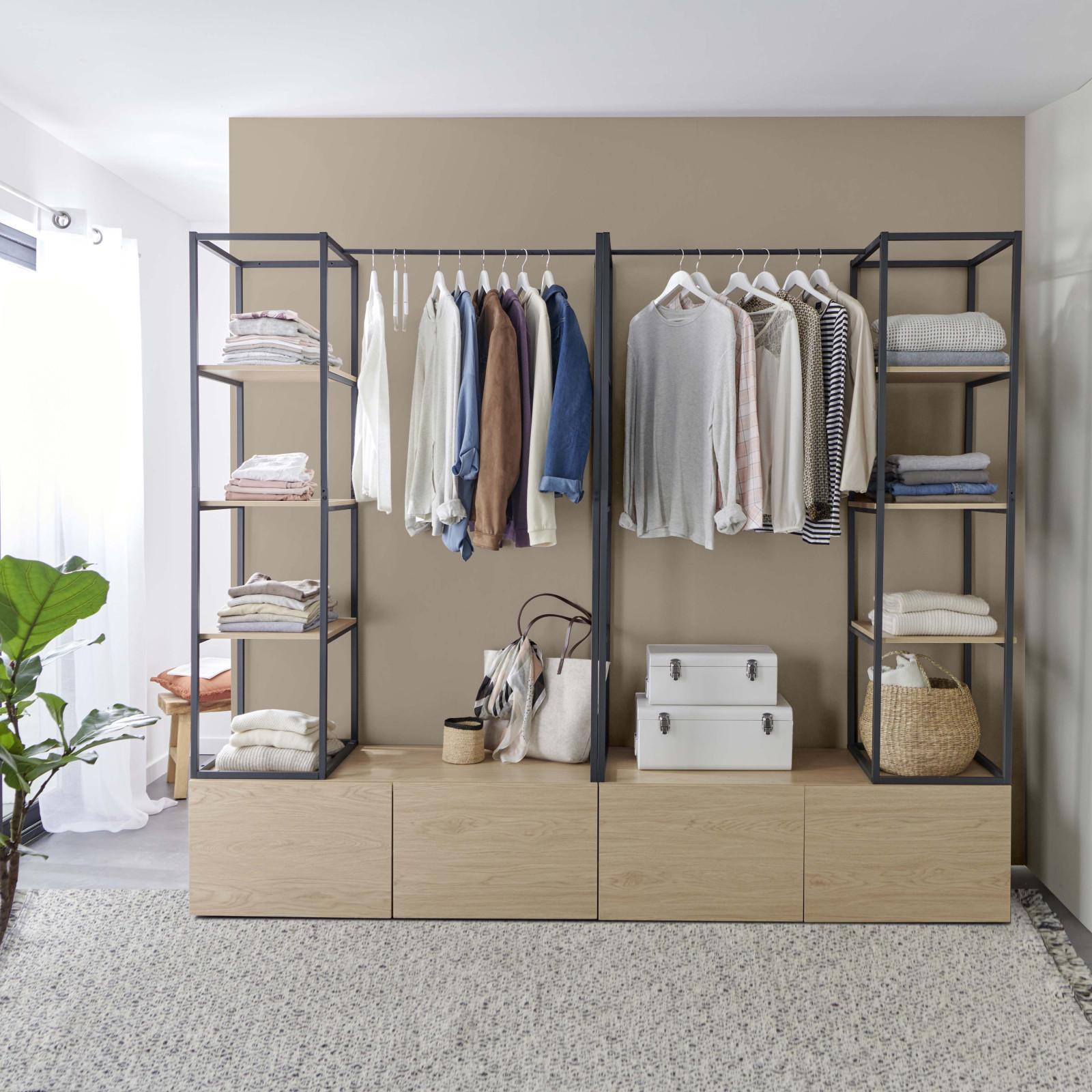 Dressing ouvert   modulable avec tiroirs effet bois clair