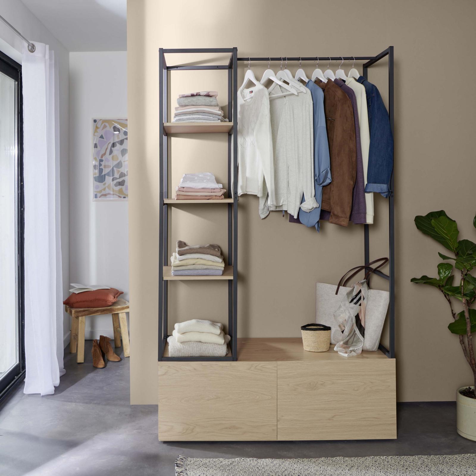 Dressing ouvert modulable avec 2 tiroirs effet bois clair