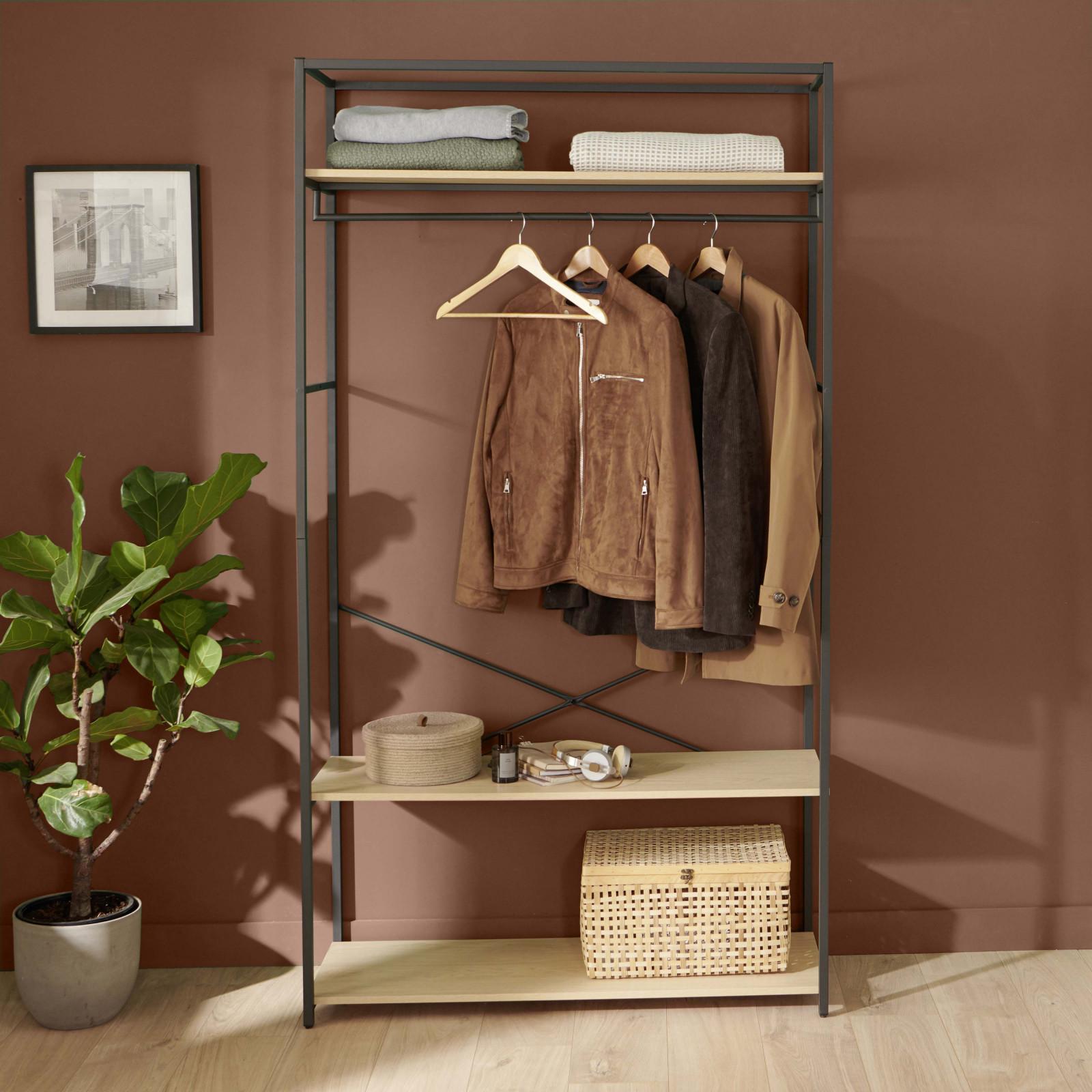Dressing ouvert L110 x H200cm effet bois clair