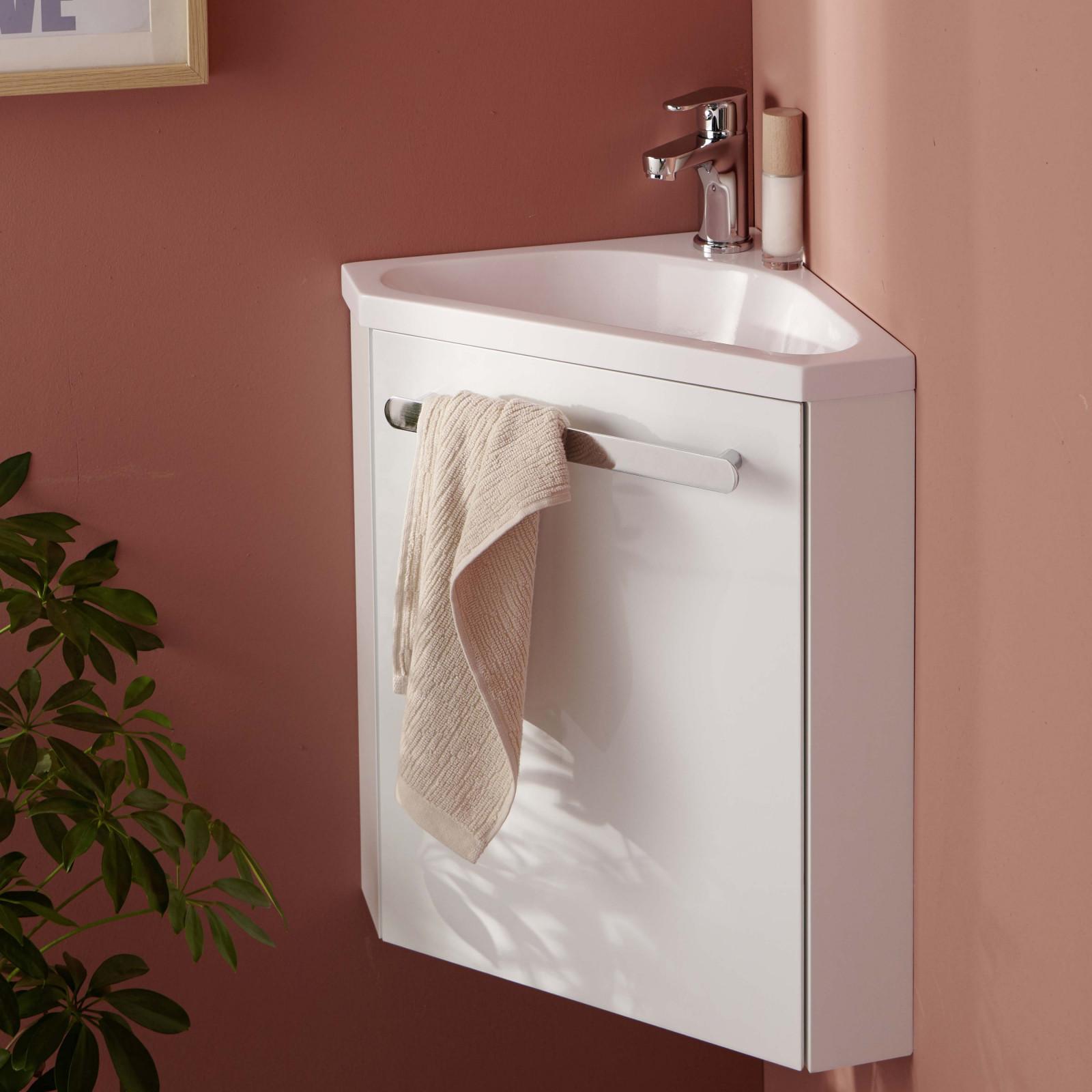 Meuble lave-mains d'angle Blanc