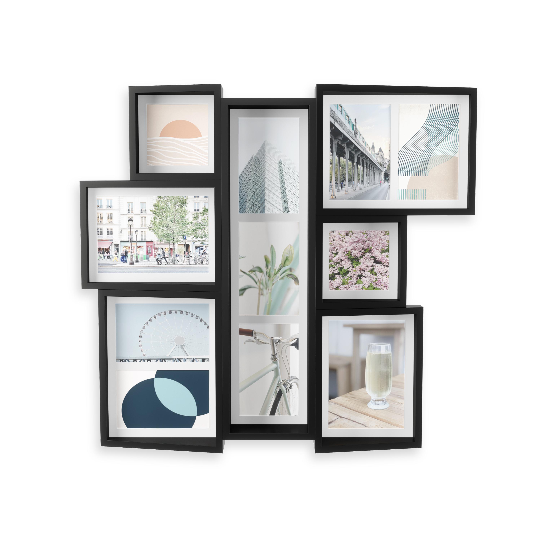 Cadre mural multivues 9 photos bois noir