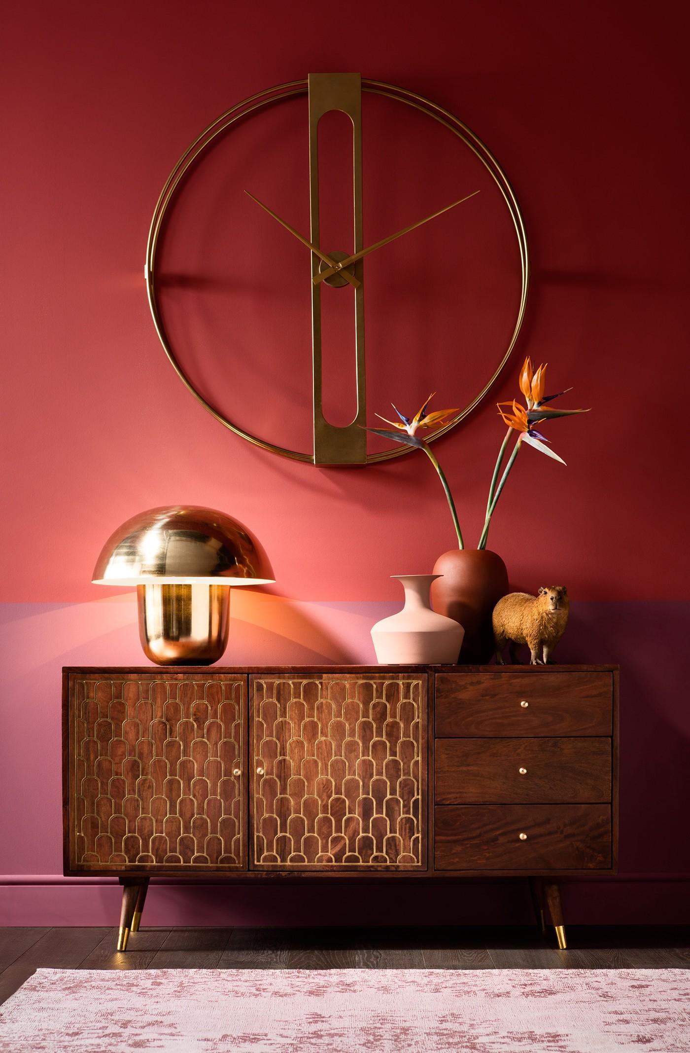 Lampe champignon en acier doré