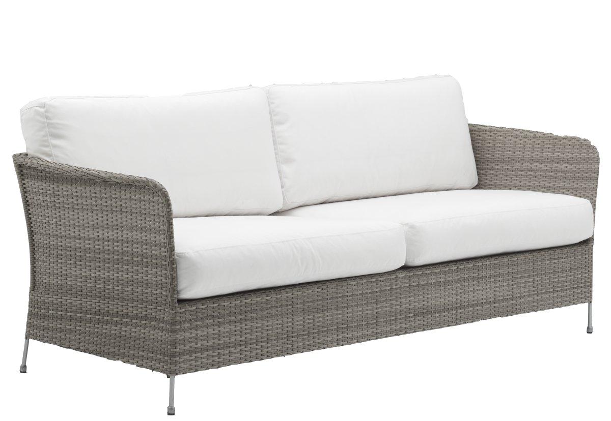 Canapé 3 places en acier et fibre synthétique taupe