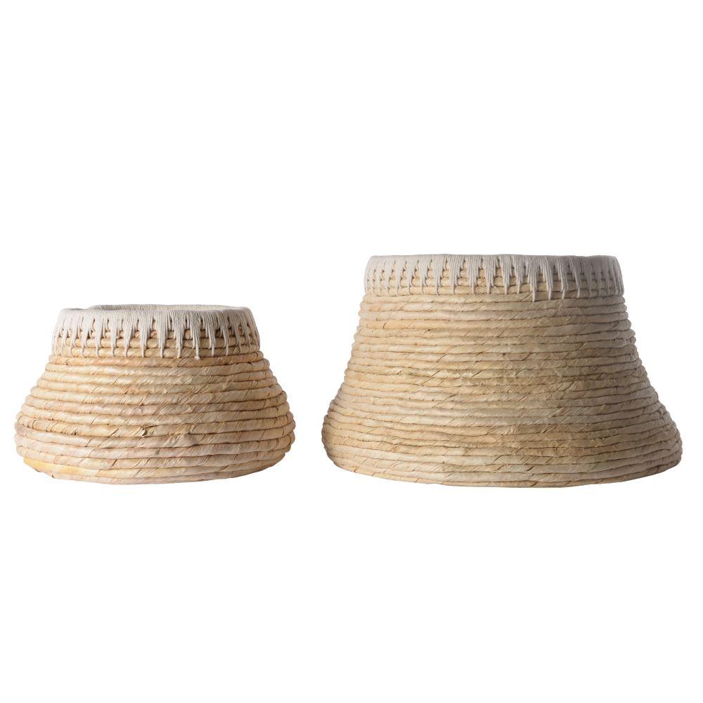 Panier rond en tressage Abaca et corde  (set de 2)