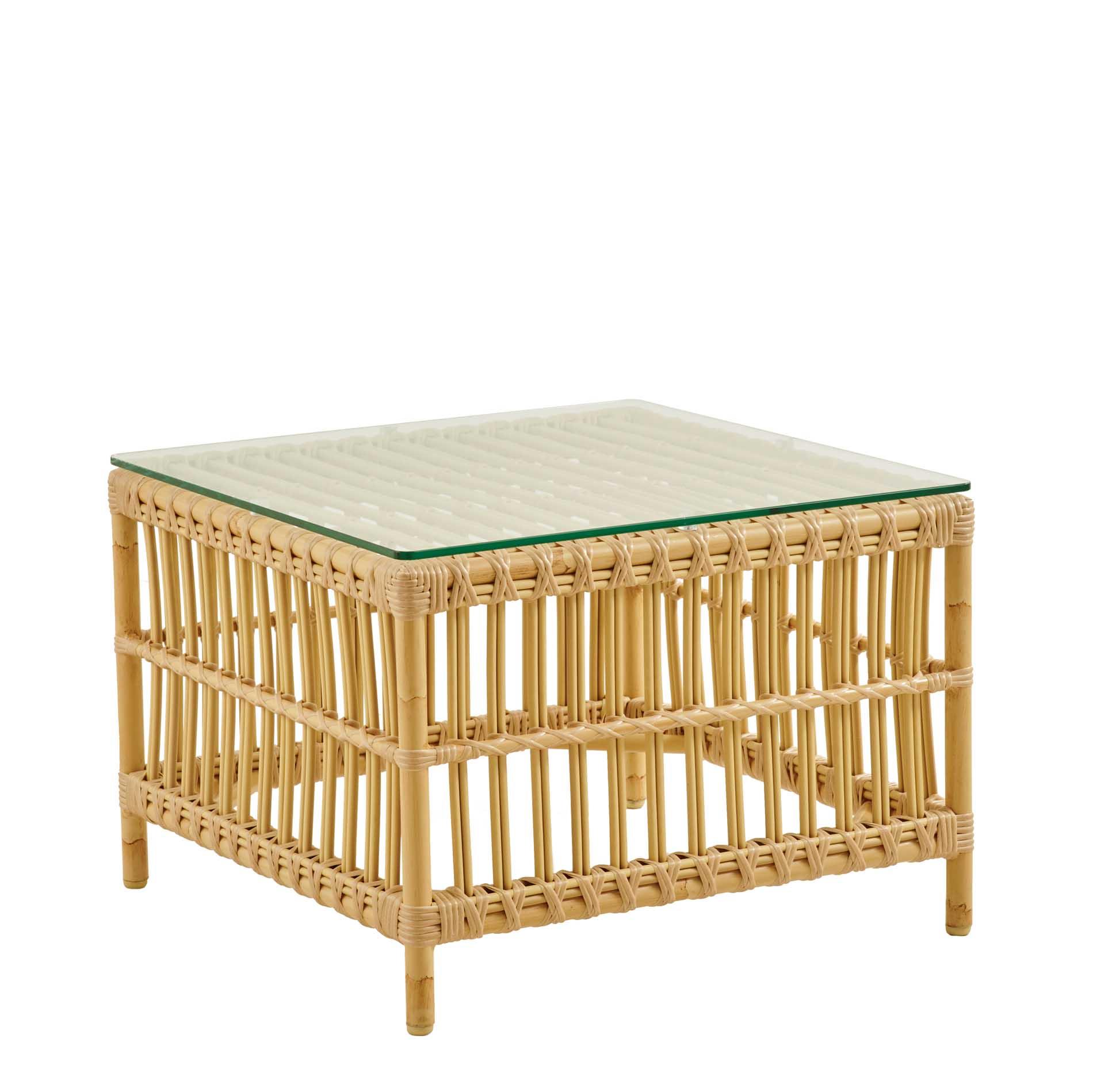 Table basse carrée en alu et fibre synthétique aspect rotin
