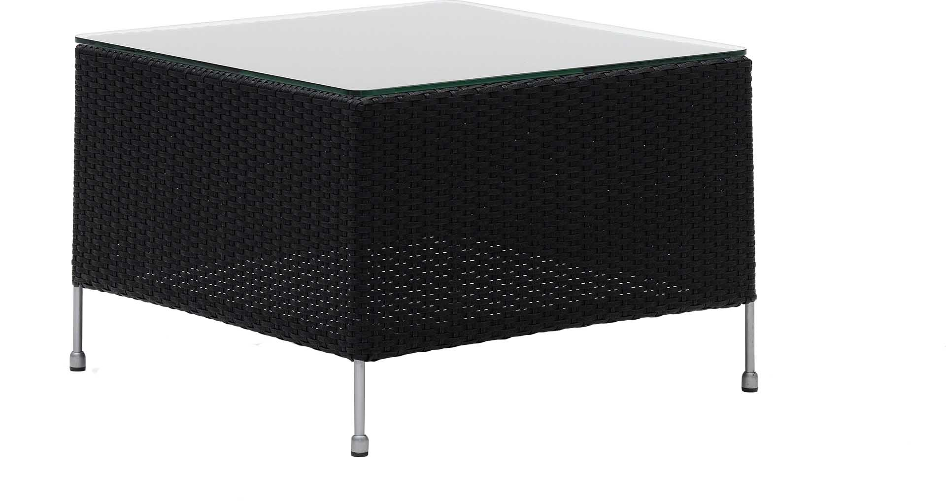 Table basse carrée en acier et fibre synthétique noire