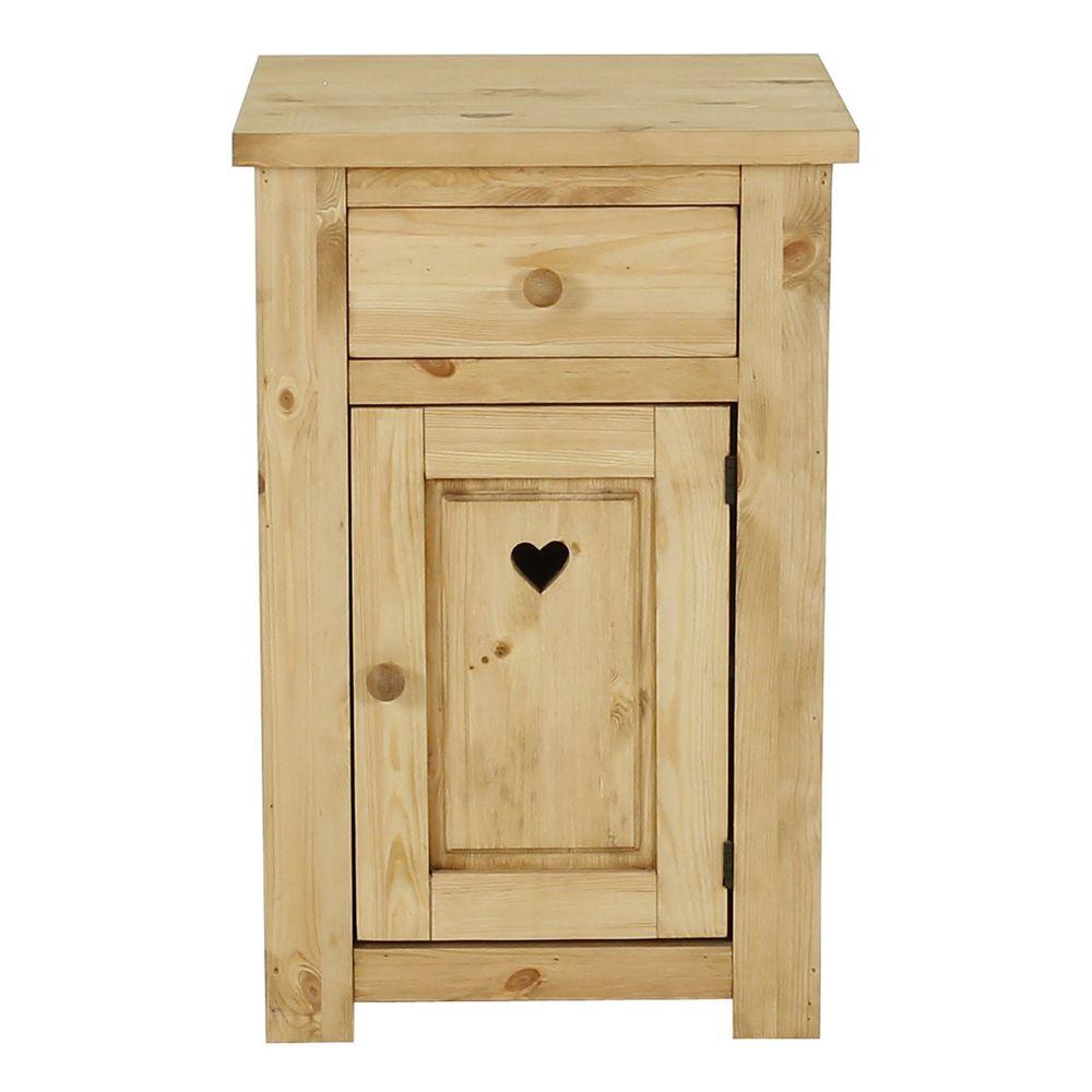 Confiturier rustique pin massif avec coeur 1 porte ouverture droite