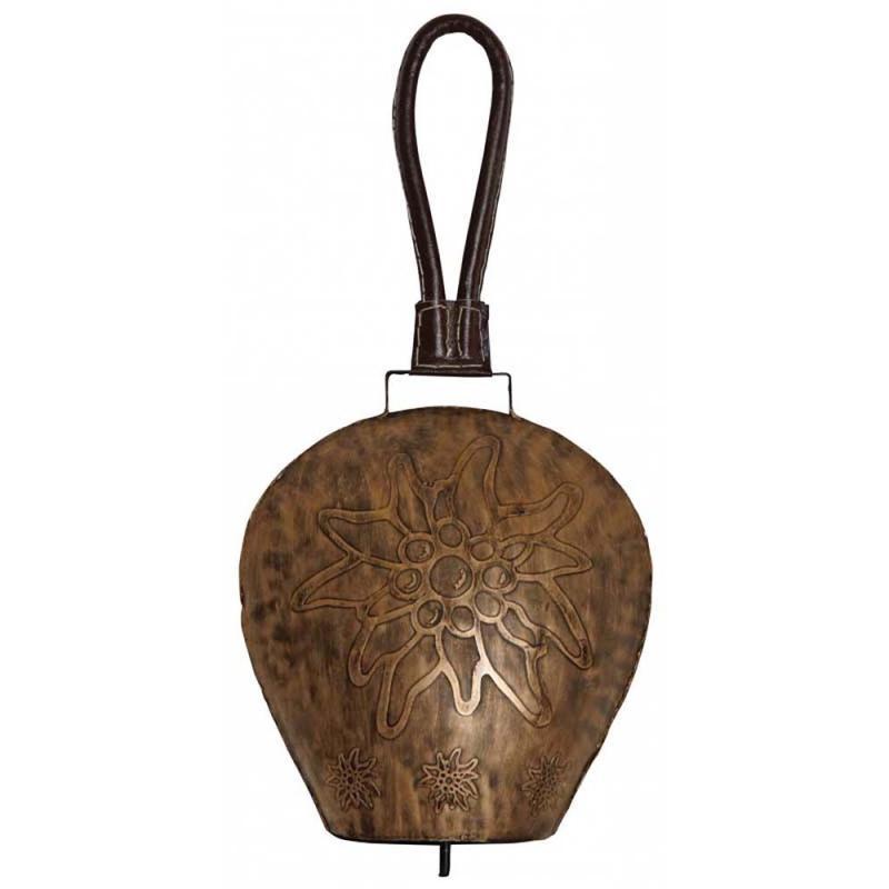 Cloche métal vieilli 26 cm avec sangle en cuir