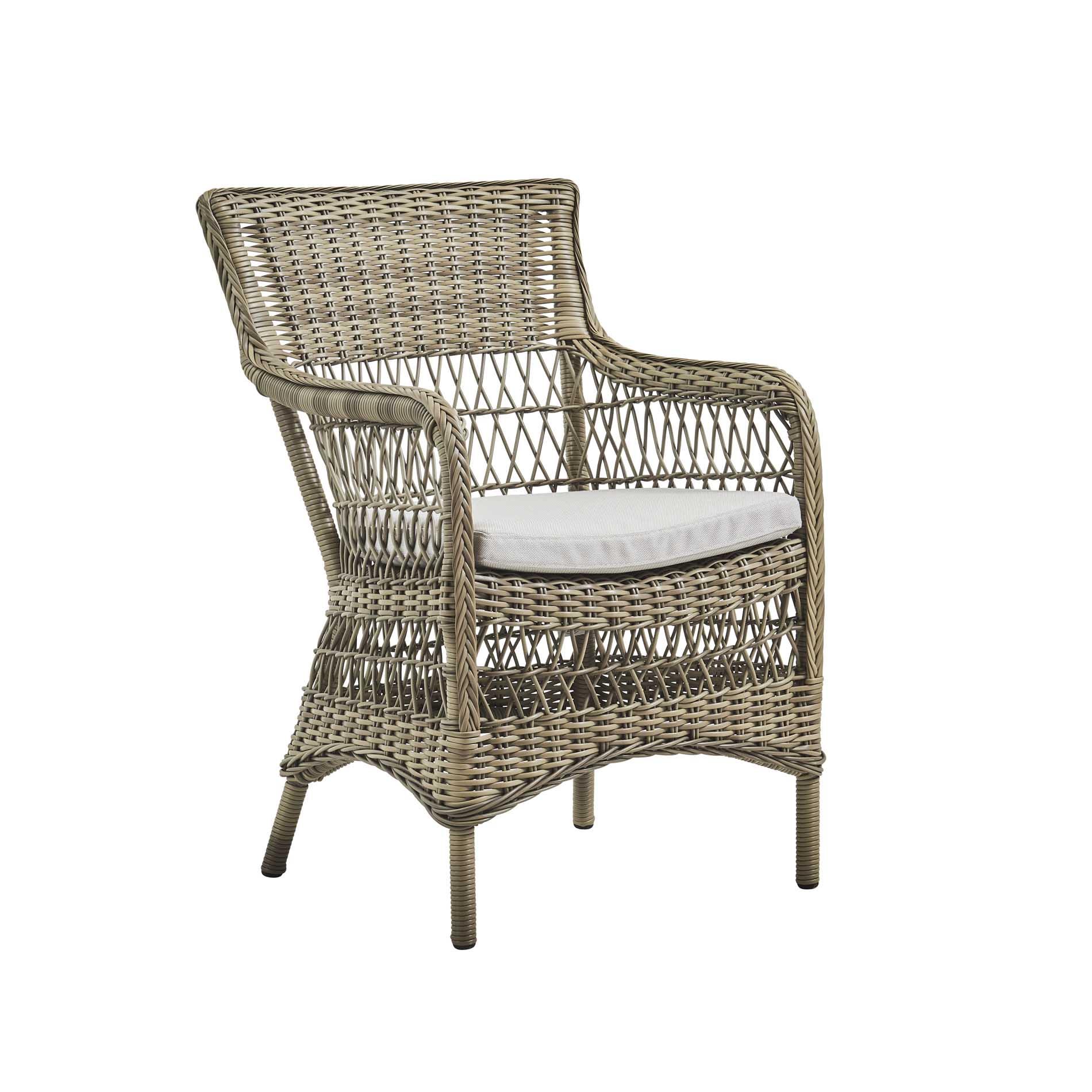 Chaise repas en aluminium et fibre synthétique taupe