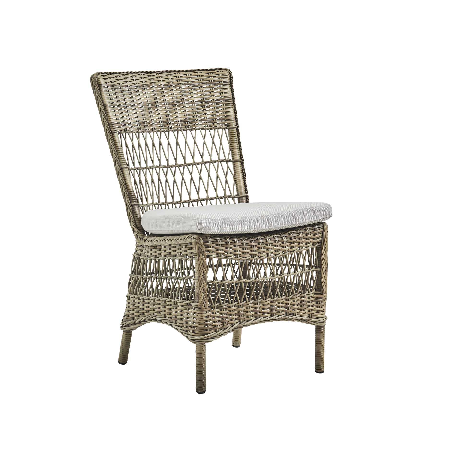 Chaise repas en aluminium et fibre synthétique taupe et coussin blanc