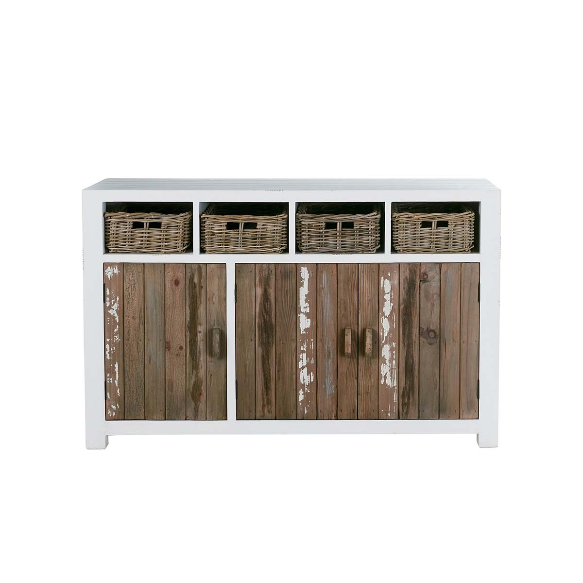 Buffet 3 portes 4 tiroirs en bois de pin recyclé