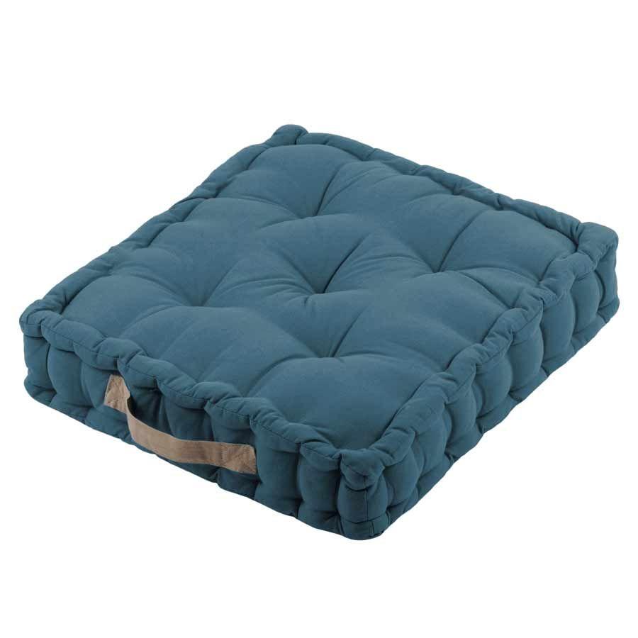 Coussin de sol épais en coton bleu 45x45