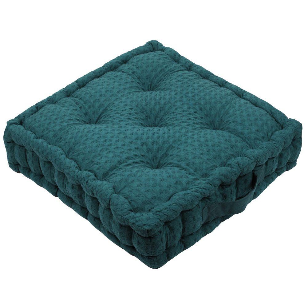 Coussin de sol en coton bleu canard 45x45